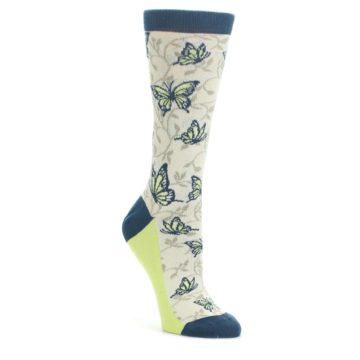 Beige Navy Lime Butterfly Women's Dress Socks