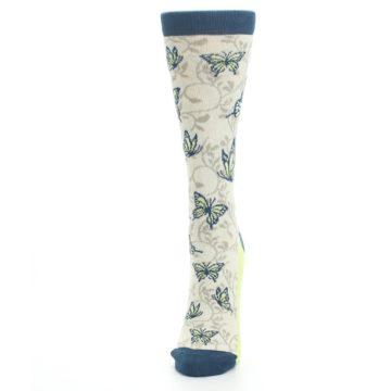 Image of Beige Navy Lime Butterfly Women's Dress Socks (side-2-front-06)