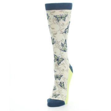 Image of Beige Navy Lime Butterfly Women's Dress Socks (side-2-front-07)