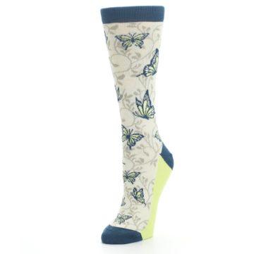 Image of Beige Navy Lime Butterfly Women's Dress Socks (side-2-front-08)