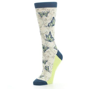 Image of Beige Navy Lime Butterfly Women's Dress Socks (side-2-09)