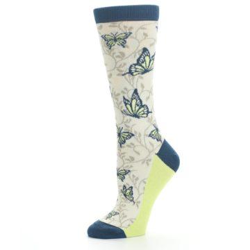 Image of Beige Navy Lime Butterfly Women's Dress Socks (side-2-10)
