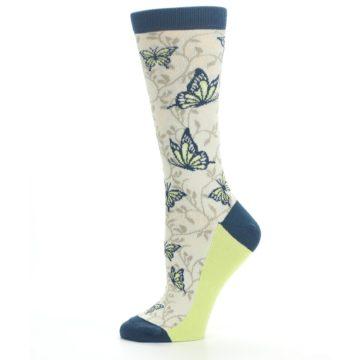 Image of Beige Navy Lime Butterfly Women's Dress Socks (side-2-11)