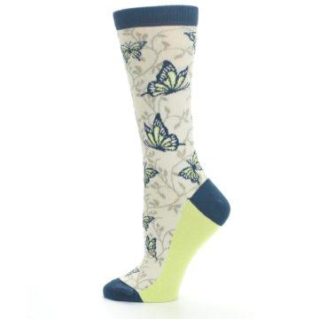 Image of Beige Navy Lime Butterfly Women's Dress Socks (side-2-12)