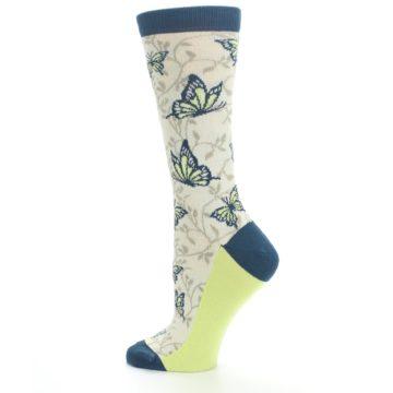 Image of Beige Navy Lime Butterfly Women's Dress Socks (side-2-13)