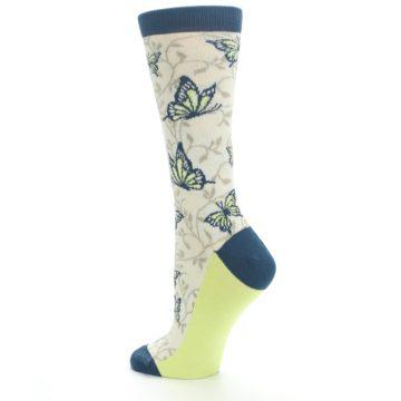 Image of Beige Navy Lime Butterfly Women's Dress Socks (side-2-back-14)