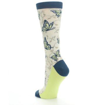 Image of Beige Navy Lime Butterfly Women's Dress Socks (side-2-back-15)