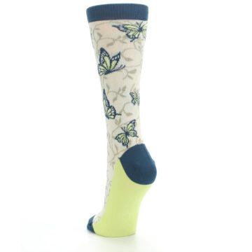 Image of Beige Navy Lime Butterfly Women's Dress Socks (side-2-back-16)