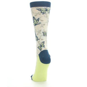 Image of Beige Navy Lime Butterfly Women's Dress Socks (back-17)
