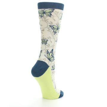 Image of Beige Navy Lime Butterfly Women's Dress Socks (side-1-back-22)