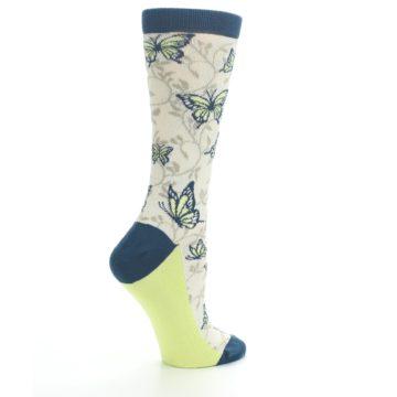 Image of Beige Navy Lime Butterfly Women's Dress Socks (side-1-23)