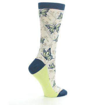 Image of Beige Navy Lime Butterfly Women's Dress Socks (side-1-24)
