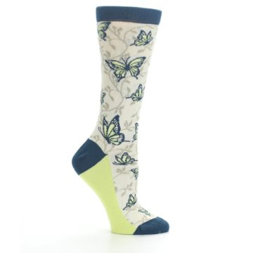 Image of Beige Navy Lime Butterfly Women's Dress Socks (side-1-25)