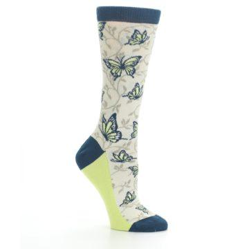 Image of Beige Navy Lime Butterfly Women's Dress Socks (side-1-26)