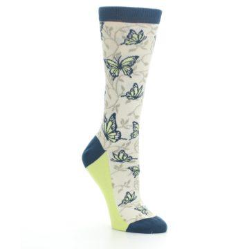 Image of Beige Navy Lime Butterfly Women's Dress Socks (side-1-27)