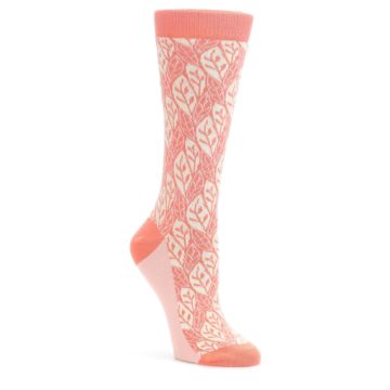 25654-Coral-Cream-Leaf-Pattern-Womens-Dress-Socks-Statement-Sockwear