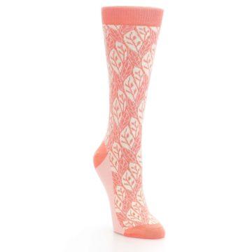 Image of Coral Cream Leaf Pattern Women's Dress Socks (side-1-front-02)