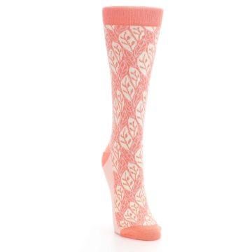 Image of Coral Cream Leaf Pattern Women's Dress Socks (side-1-front-03)