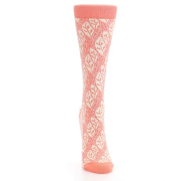 Image of Coral Cream Leaf Pattern Women's Dress Socks (front-04)