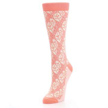 Image of Coral Cream Leaf Pattern Women's Dress Socks (side-2-front-08)