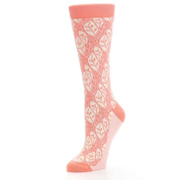 Image of Coral Cream Leaf Pattern Women's Dress Socks (side-2-09)