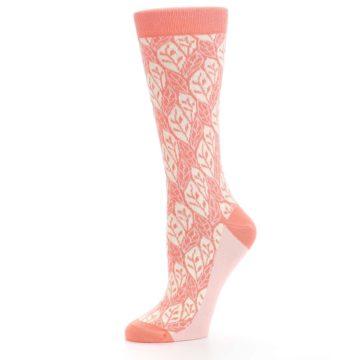 Image of Coral Cream Leaf Pattern Women's Dress Socks (side-2-10)