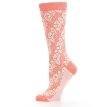 Image of Coral Cream Leaf Pattern Women's Dress Socks (side-2-11)