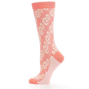 Image of Coral Cream Leaf Pattern Women's Dress Socks (side-2-12)