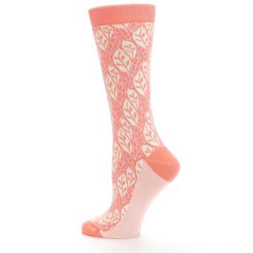 Image of Coral Cream Leaf Pattern Women's Dress Socks (side-2-13)