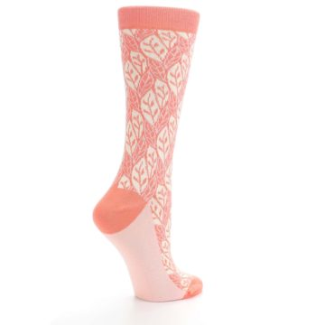 Image of Coral Cream Leaf Pattern Women's Dress Socks (side-1-23)