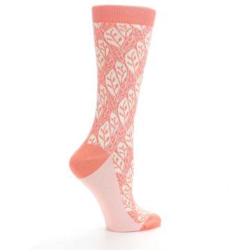 Image of Coral Cream Leaf Pattern Women's Dress Socks (side-1-24)