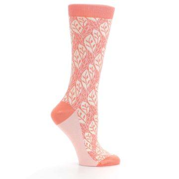 Image of Coral Cream Leaf Pattern Women's Dress Socks (side-1-25)
