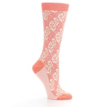 Image of Coral Cream Leaf Pattern Women's Dress Socks (side-1-26)