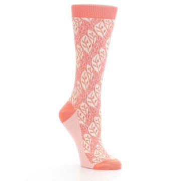 Image of Coral Cream Leaf Pattern Women's Dress Socks (side-1-27)