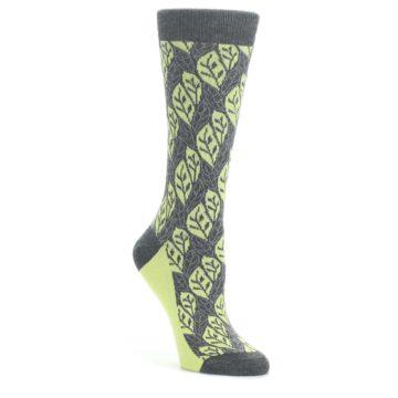 Charcoal-Lime-Leaf-Pattern-Womens-Dress-Socks-Statement-Sockwear