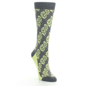 Image of Charcoal Lime Leaf Pattern Women's Dress Socks (side-1-front-02)