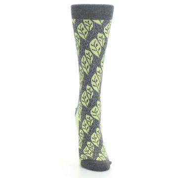 Image of Charcoal Lime Leaf Pattern Women's Dress Socks (front-04)