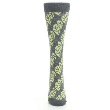 Image of Charcoal Lime Leaf Pattern Women's Dress Socks (front-05)