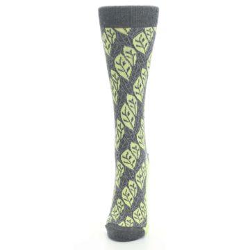 Image of Charcoal Lime Leaf Pattern Women's Dress Socks (side-2-front-06)