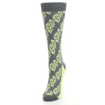 Image of Charcoal Lime Leaf Pattern Women's Dress Socks (side-2-front-07)