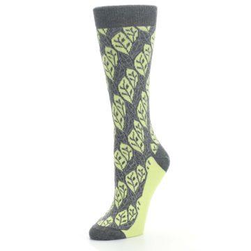 Image of Charcoal Lime Leaf Pattern Women's Dress Socks (side-2-09)