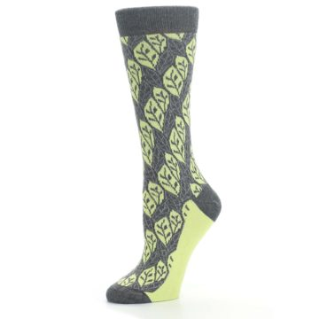 Image of Charcoal Lime Leaf Pattern Women's Dress Socks (side-2-10)