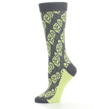 Image of Charcoal Lime Leaf Pattern Women's Dress Socks (side-2-11)