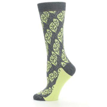 Image of Charcoal Lime Leaf Pattern Women's Dress Socks (side-2-12)