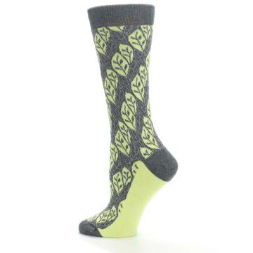 Image of Charcoal Lime Leaf Pattern Women's Dress Socks (side-2-13)