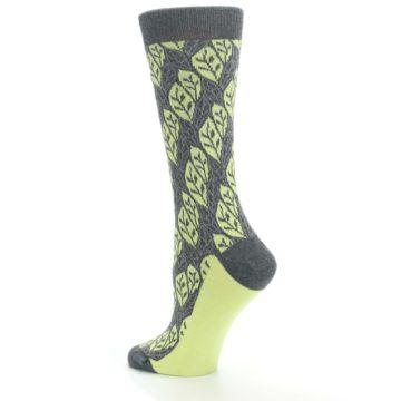 Image of Charcoal Lime Leaf Pattern Women's Dress Socks (side-2-back-14)