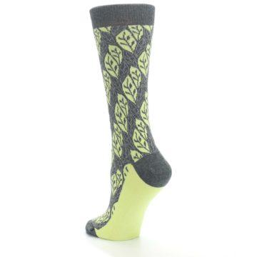 Image of Charcoal Lime Leaf Pattern Women's Dress Socks (side-2-back-15)