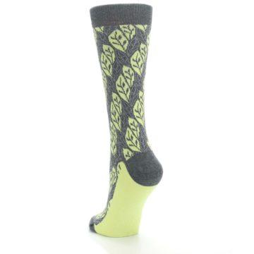 Image of Charcoal Lime Leaf Pattern Women's Dress Socks (side-2-back-16)