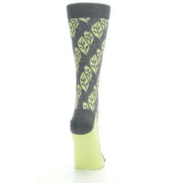 Image of Charcoal Lime Leaf Pattern Women's Dress Socks (side-1-back-20)