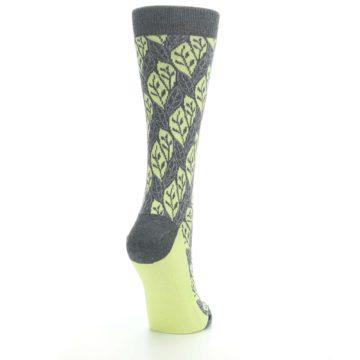 Image of Charcoal Lime Leaf Pattern Women's Dress Socks (side-1-back-21)